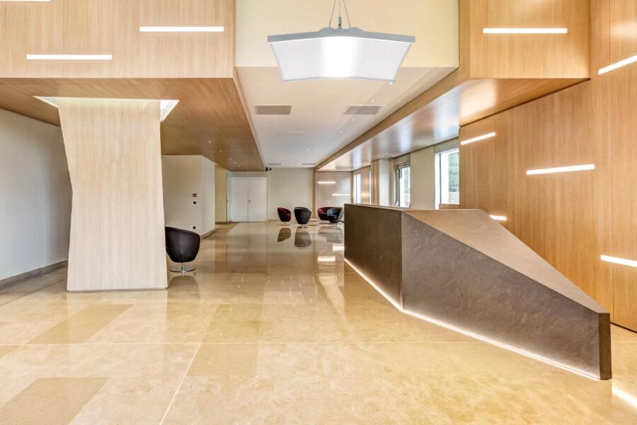 ambiente panel led hall madera