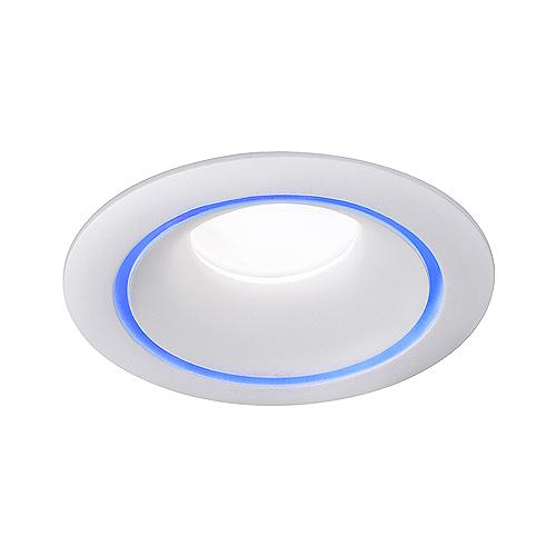 Empotrable redondo fijo aluminio Blanco con aro de color Azul, para GU10