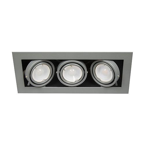 Kardan empotrable acero gris 3XGU10 LED 7W 3000K